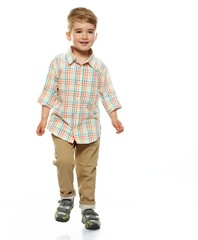 Little funny boy isolated on white background