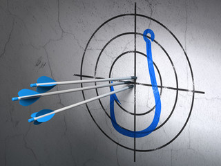 Privacy concept: arrows in Fishing Hook target on wall