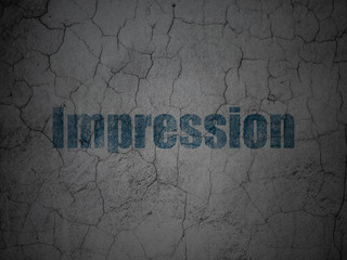 Advertising concept: Impression on grunge wall background