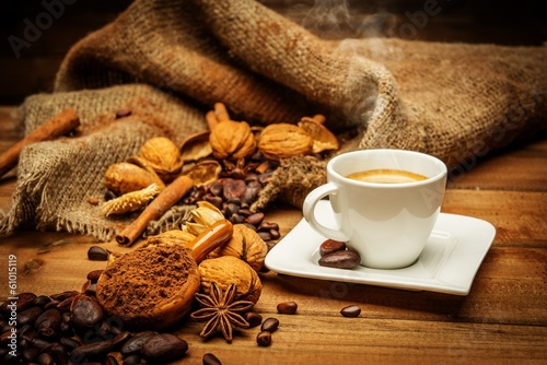 Coffee theme still-life on wooden table