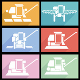 Collection flat icons with long shadow. Agricultural vehicles ha