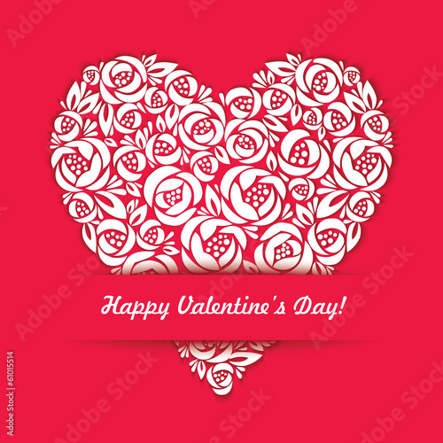 Happy Valentines Day Card with floral heart