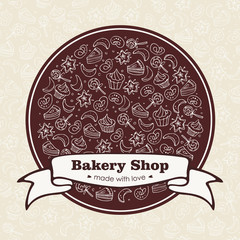 Bakery Shop emlbem with ribbon