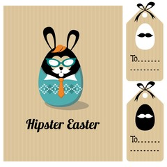 Cute vintage easter card with hipster bunny, vector