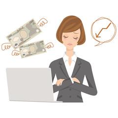 ビジネスウーマン パソコン 女性 お金 予算 困る 悩む
