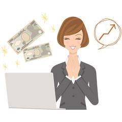 ビジネスウーマン パソコン 女性 お金 予算 笑顔