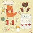 Set of different elements for design on Valentine's Day
