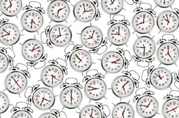 Many alarm clocks isolated on white background