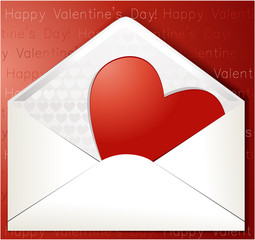 Valentine's letter with sweet heart