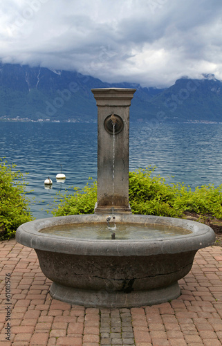 A beautiful stone fountain, Lake Geneva , Montreux, Switzerland.