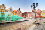 Fototapety Wroclaw, Poland. The market square with the famous fountain