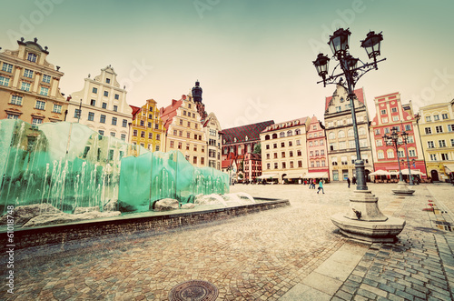 Fototapeta Wroclaw, Poland. The market square with the famous fountain