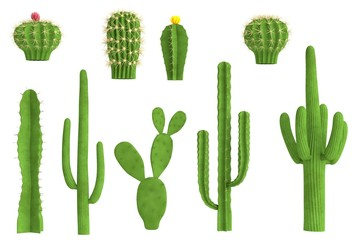 realistic 3d render of cactus set