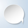 Abstract paper speech bubble on light blue background