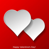 Abstract two hearts on red background. Valentines day greeting c