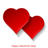 Abstract two red hearts on white background. Valentines day gree