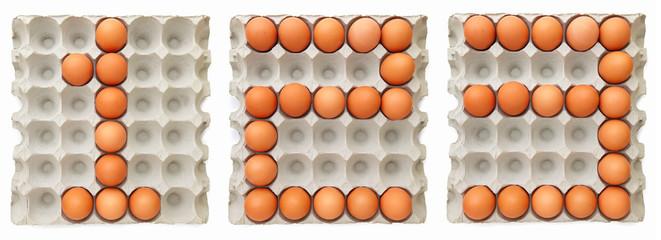 Farm egg forming text 123