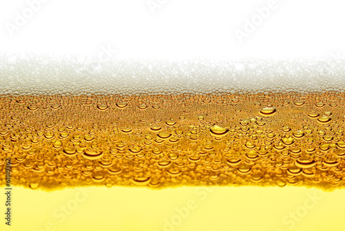 Beer, foam, bubbles isolated on white background.