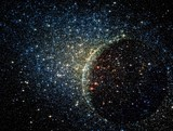 Stars clusters on the background of vast cosmic sphere. poster