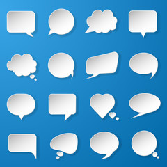 Modern paper speech bubbles set on blue background for web, bann