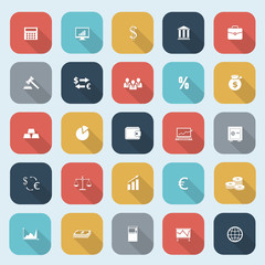 Trendy simple finance icons set in flat design with long shadows