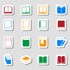 Color Book icon set as Labes