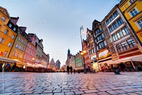 Wroclaw, Poland. The market square at the evening