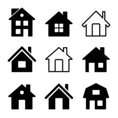 House Icons Set on White