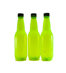 three green plastic bottle