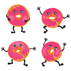Dounuts cartoon animated. Vector set.
