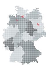 Deutschland-Karte gerastert, Bundesländer gruppiert