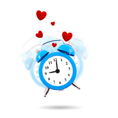 Alarm clock in the air ringing with hearts isolated