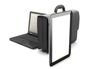 Laptop, tablet computer and briefcase on white background