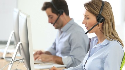 Sales people working in hotline department