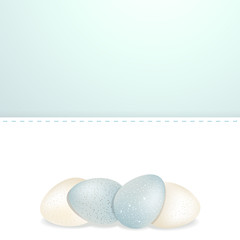 easter white and blue speckled eggs and panel