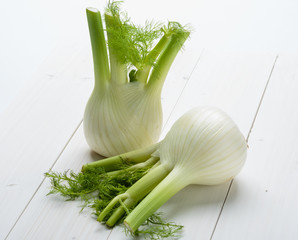 Fennel on white wooden floor