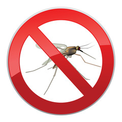 Stop mosquito symbol. No Mosquitos Sign