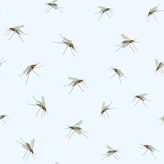 Mosquitos Seamless border. Blue sky background Incest pattern