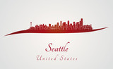 Seattle skyline in red