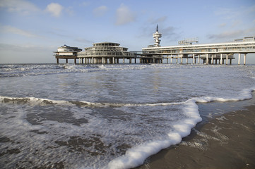 Pier on Scheveningen beach in Hague, Netherlands