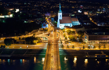 Night view on auto junction in Bratislava