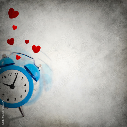Vignette background with ringing clock playing hide and seek