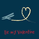 Be My Valentine Biplane with Heart Card