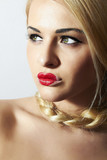 Unusual Beautiful Blond Woman.Red Lips.Freak Girl with Tress