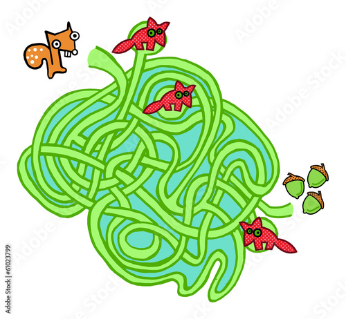 Squirrel, Nuts And Foxes  Maze Game