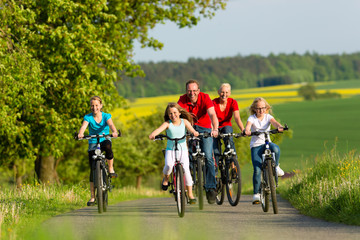 Familie fährt Fahrrad im Sommer