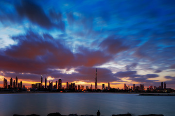 A dynamic skyline of Dubai, UAE at dawn