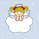 Fototapety Angel wings on a cloud. Greeting card