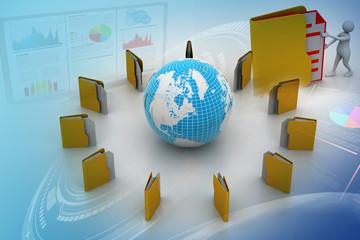 File folders around Earth
