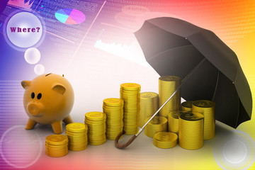 piggy bank with gold coins and umbrella